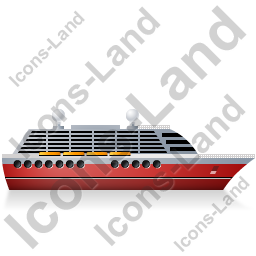 Cruise Ship Right Red Icon, PNG/ICO, 256x256