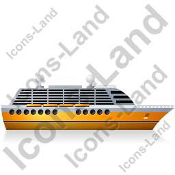 Cruise Ship Right Yellow Icon, PNG/ICO, 256x256