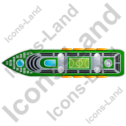 Cruise Ship Top Green Icon, PNG/ICO, 256x256