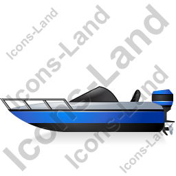 Motorboat Left Blue Icon, PNG/ICO, 256x256
