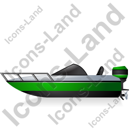 Motorboat Left Green Icon, PNG/ICO, 256x256