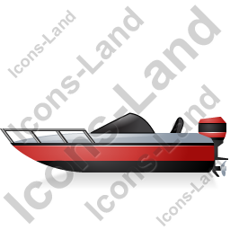 Motorboat Left Red Icon, PNG/ICO, 256x256