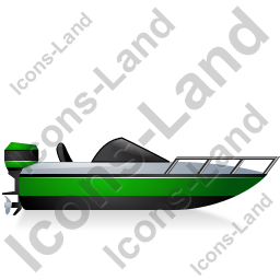 Motorboat Right Green Icon, PNG/ICO, 256x256