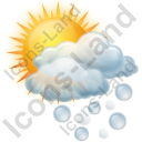 Cloudy Partly Hail Icon