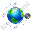 Moon Phase Last Quarter Earth Icon, PNG/ICO, 128x128