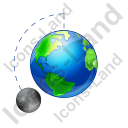 Moon Phase Waxing Gibbous Earth Icon, PNG/ICO, 128x128