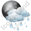 Night Cloudy Partly Rain Icon, PNG/ICO, 128x128