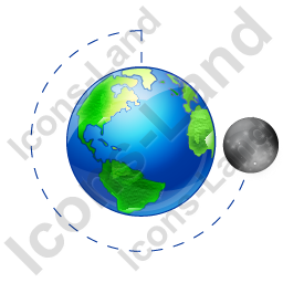 Moon Phase Last Quarter Earth Icon, PNG/ICO, 256x256