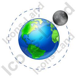 Moon Phase Waning Crescent Earth Icon