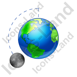 Moon Phase Waxing Gibbous Earth Icon, PNG/ICO, 256x256