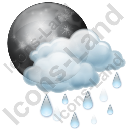 Night Cloudy Partly Rain Icon, PNG/ICO, 256x256