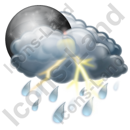 Night Thunderstorm Showers Icon, PNG/ICO, 256x256