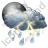 Night Thunderstorm Showers Icon, PNG/ICO, 48x48