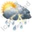 Cloudy Mostly Thunderstorm Icon