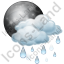 Night Cloudy Partly Rain Icon, PNG/ICO, 64x64