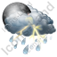 Night Thunderstorm Showers Icon, PNG/ICO, 64x64